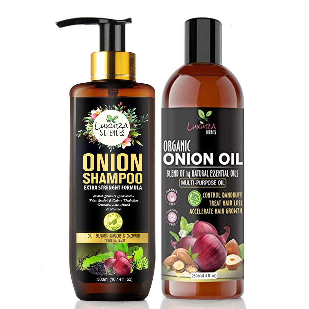 Luxura Sciences Onion Hair Oil for hair growth 250ml & Onion Shampoo 300ml Combo
