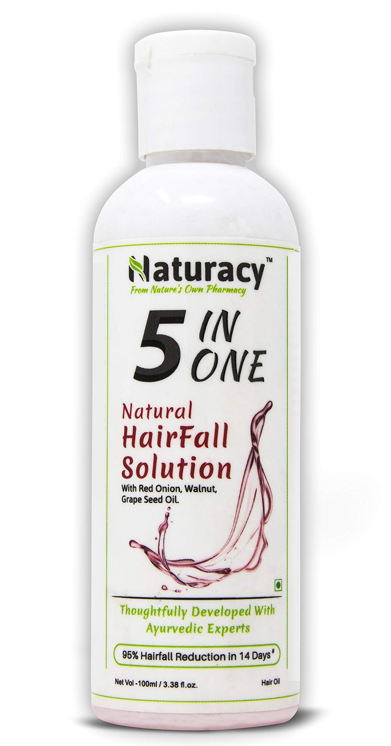 Naturacy 5 In One: Hair Growth & Hair Fall Control With Onion Oil, Redensyl & Saw Palmetto, Essential Oils & Extracts, For Women & Men (100ml)