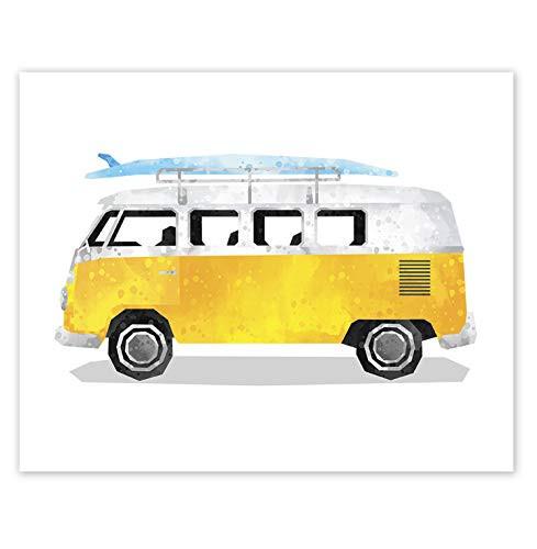 Van Print // Classic Car Art // Girl Boy Room Wall Decor // Bus Poster // Surfboard Transportation Decor // Yellow (8x10, Yellow Van)