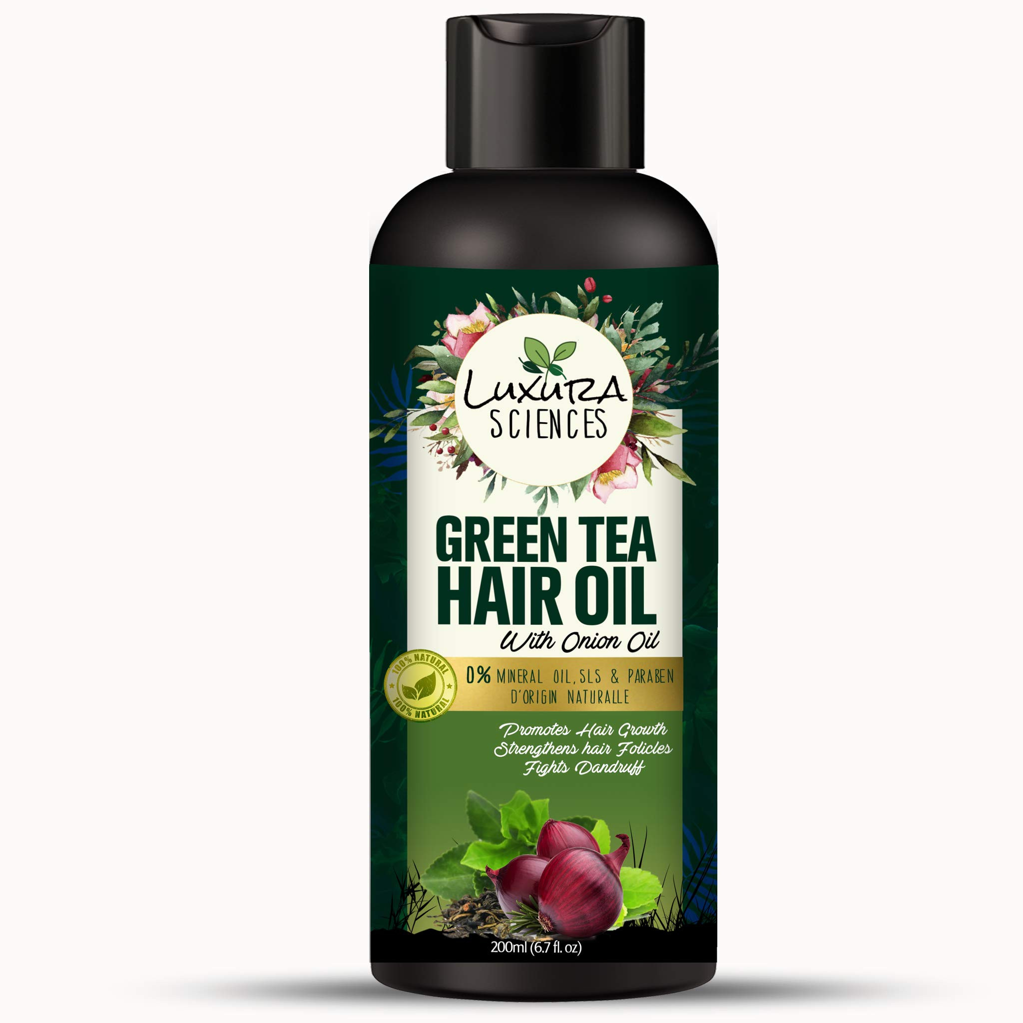 Luxura Sciences Green Tea Hair Oil with Onion Oil 200ml for Hair Improvement.