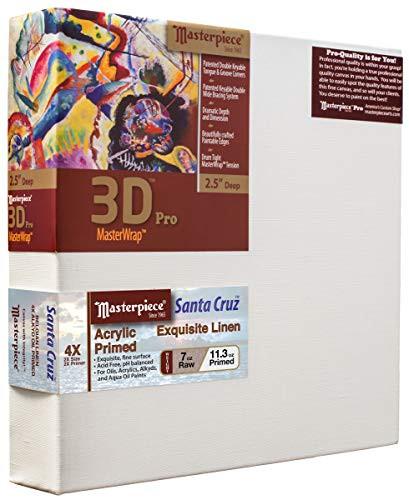 """Masterpiece Artist Canvas DZ-1217 3D Pro 2-1/2"""" Deep, 12"""" x 17"""", Linen14.0oz - 4X - Santa Cruz Acrylic Primed"""