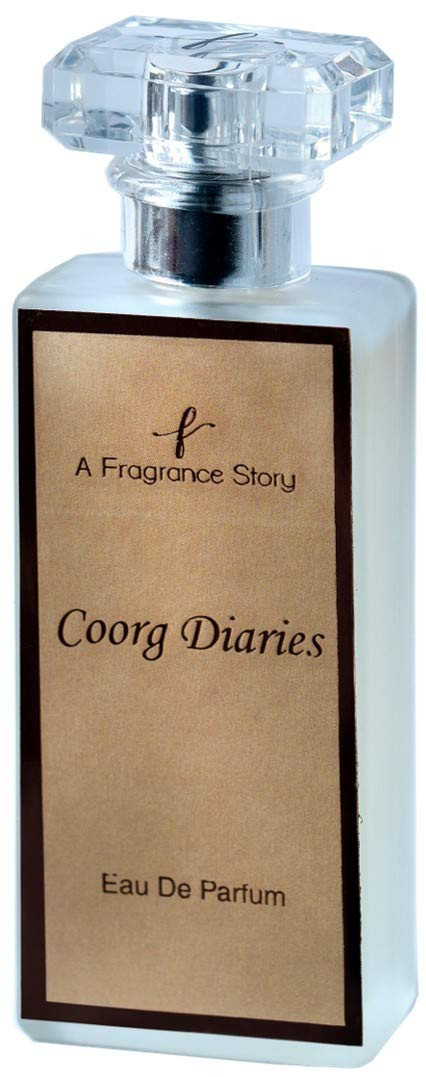 A Fragrance Story - Coorg Diaries - Eau De Parfum 50ml - A Fragrance reminds the rose gardens and coffee plantations of Coorg. Long Lasting. Its blend of rose, coffee and vanilla.