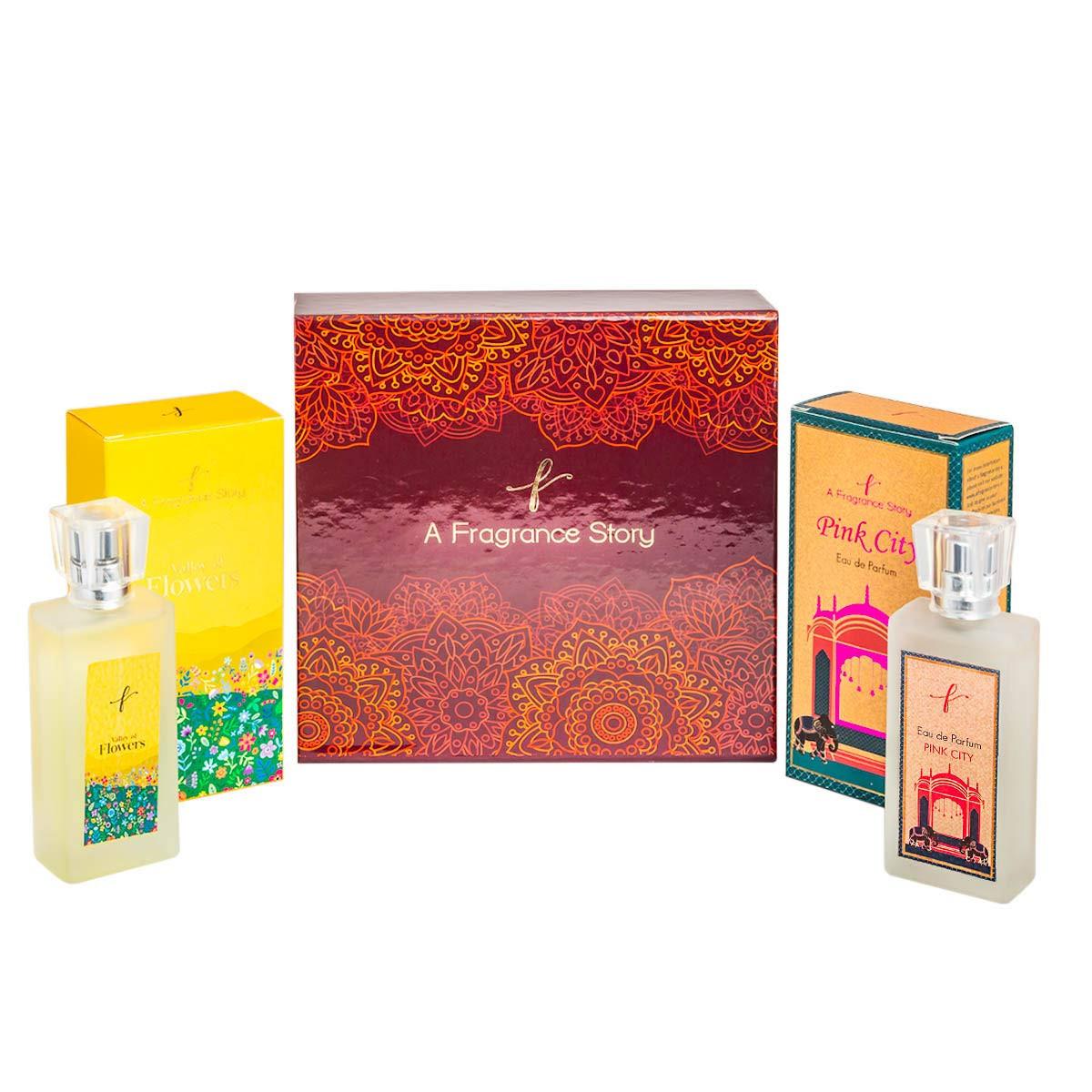 A Fragrance Story Combo Pack Set of Eau De Parfum Valley Of Flowers, 50 Ml & Pink City Eau De Parfum, 50 Ml Unisex Perfume.