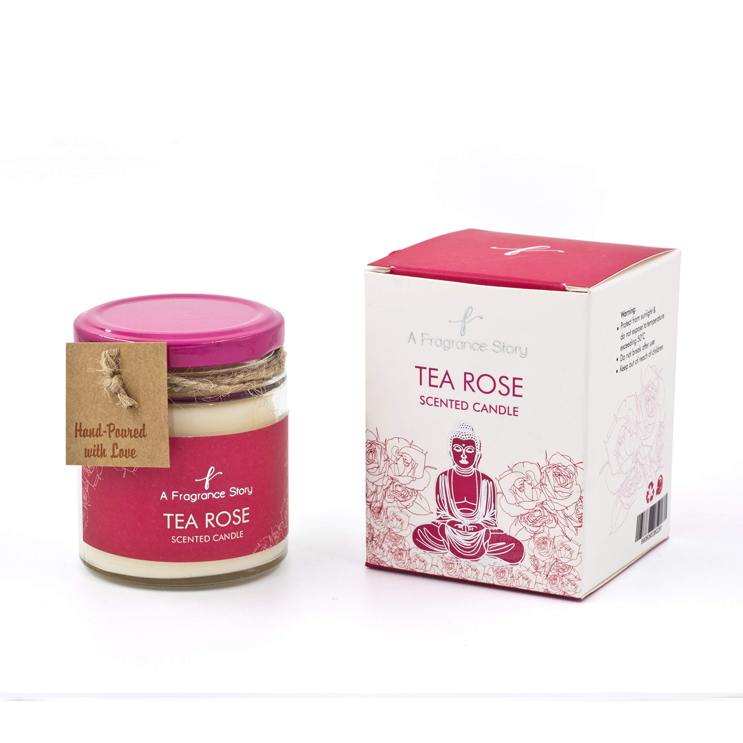 A Fragrance Story - Tea Rose Scented Candle, 100% pure beeswax, aromatic fragrance