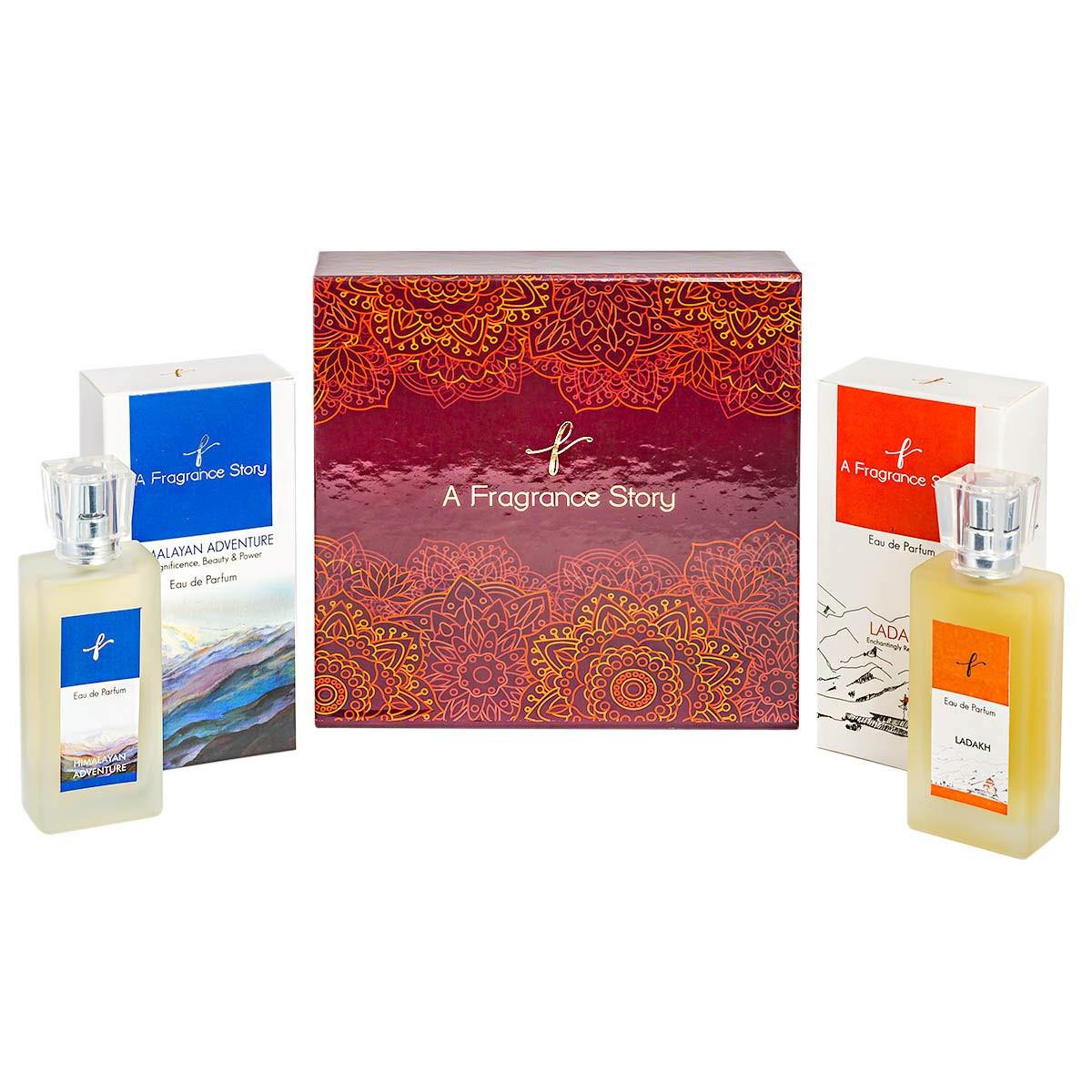 A Fragrance Story Combo Pack Set of Eau De Parfum Himalayan Adventure, 50 Ml & Ladakh Eau De Parfum For Unisex - 50 Ml Gift Box