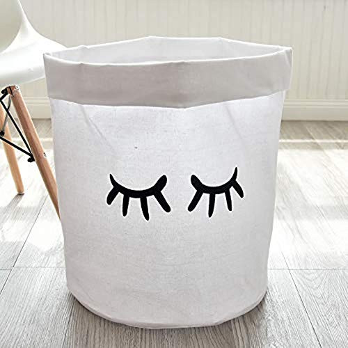Unibedding Large Laundry Storage Basket Bin,Collapsible Black White Laundry Hamper for Kids, Baby Nursery, Children, Girls, Bedroom