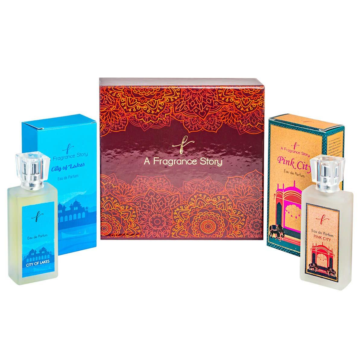 A Fragrance Story Combo Pack of Pink City Eau De Parfum- 50 Ml & City of Lakes Eau de Toilette for Men and Women -50 ml Gift Box