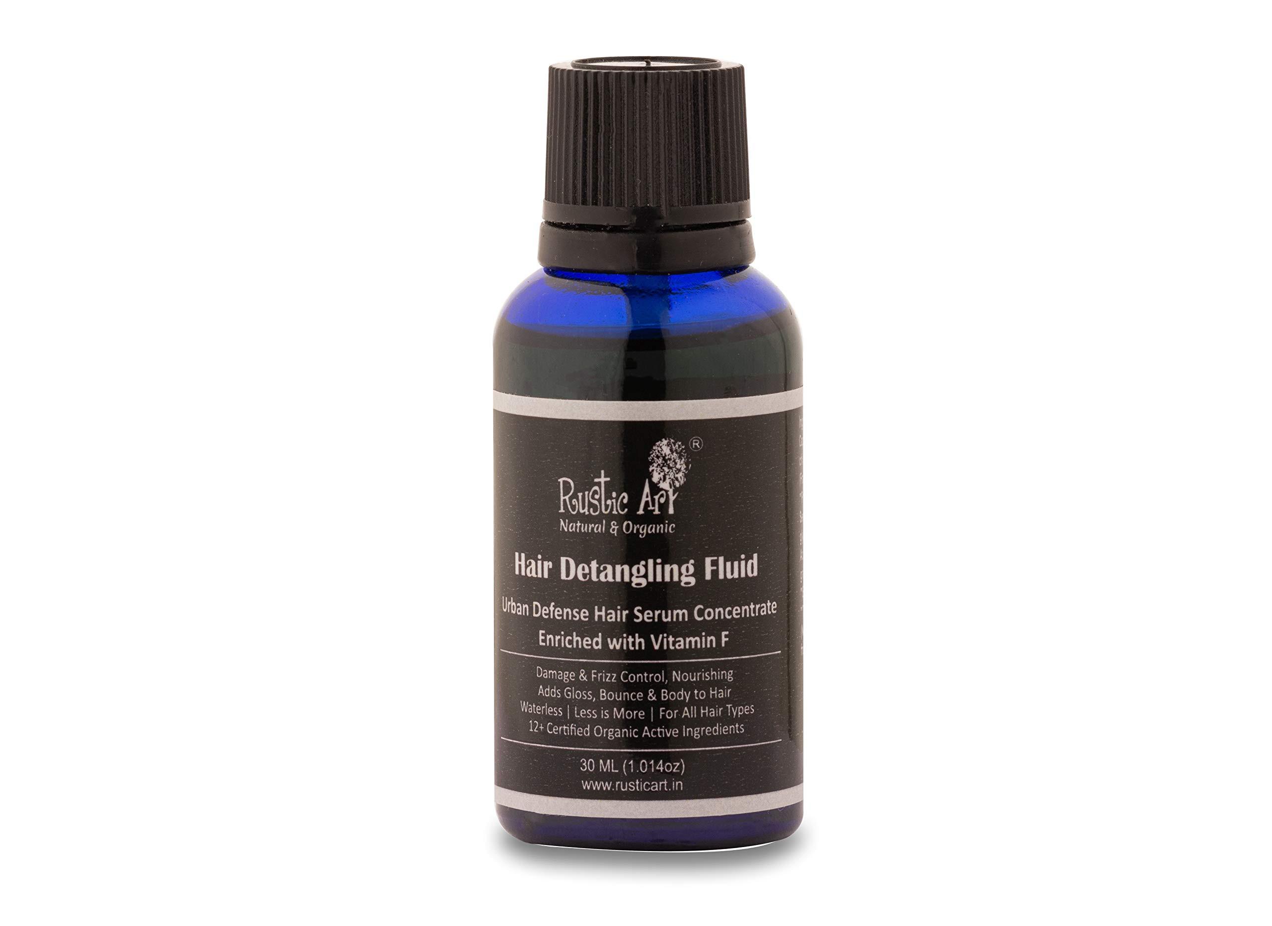 Rustic Art Organic Hair Detangling Fluid with Vit. F | Urban Defense Hair Serum Concentrate | 30 ml