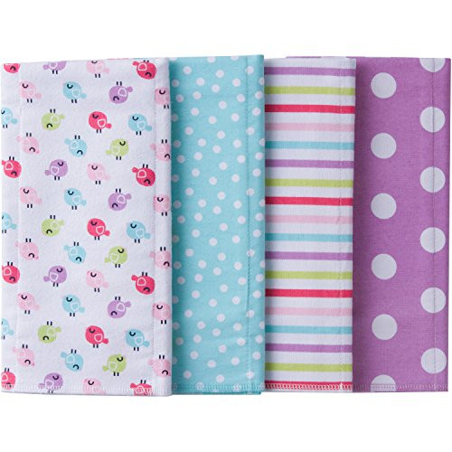 "Gerber Baby Girls' 4-Pack Flannel Burp Cloth, little birdie, 20"" x 14"""