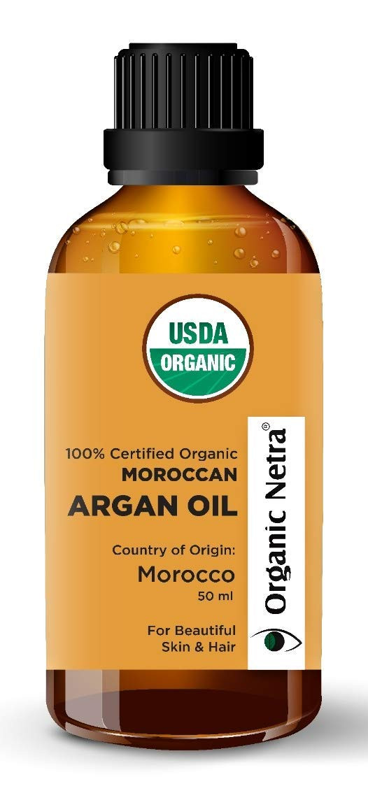 Organic Netra® Moroccan Argan Oil, 100% Pure USDA Certified Organic, Cold Pressed, Stimulate Growth for Dry and Damaged Hair, Best Skin Moisturizer, Best Anti-Aging, Nails Protector, For All Skin & Hair Type - 50 ml